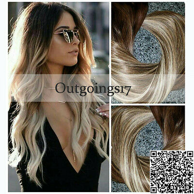 Ombre Balayage Clip in Remy Human Hair Extensions Full Head European Human Hair