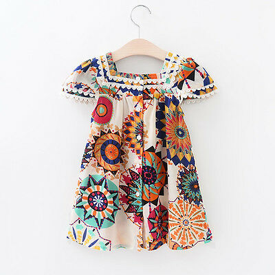 Summer Kids Girls Floral Sleeveless Dress Princess Party Pageant Dresses 3-8Y