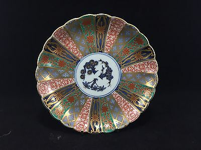 Pair of Japanese Imari Scalloped Chargers / Plates - 24 panels X2