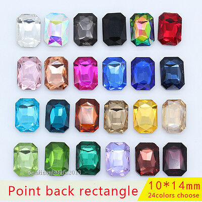 50p 10x14mm octagon point back crystal cut glass rhinestone jewelry making beads