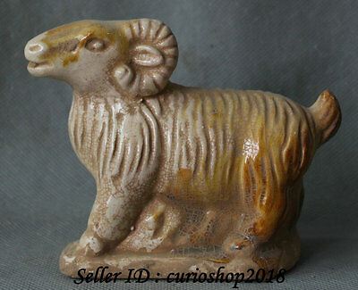 """4"""" Old Chinese Tang Color Porcelain Pottery Wealth Zodiac Year Sheep Goat Statue"""