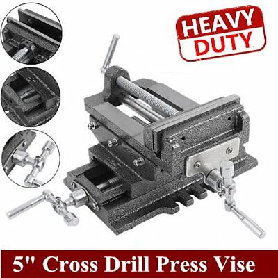 "New 5"" Cross Sliding Drill Press Vise Slide Vice Heavy Duty Machine Shop Tools E"