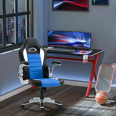 HOMCOM Racing Office Chair Swivel Armrest Adjustable PU Computer Seat High Back