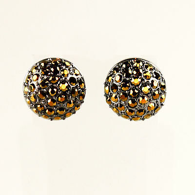 MIMCO Crystal Dome Stud Earrings in Jet Gold New