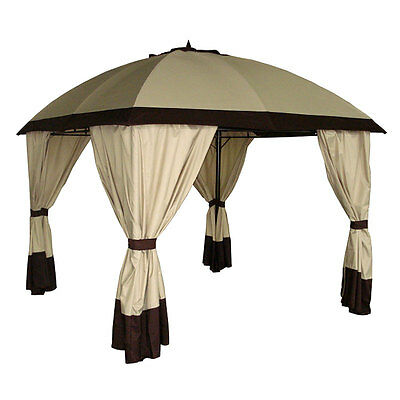 Patio Square Gazebo 3m Garden Curtains Domed Outdoor Shade Tent Canopy Party