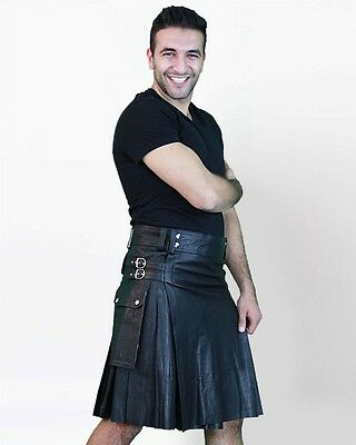 Leather Kilt with Twin Cargo Pockets by Scottish Kilt | Made To Measure