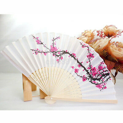 Chinese Folding Hand Fan Japanese Cherry Blossom Design Silk Costume Party 1PCS