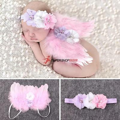 Baby Girls Newborn Angel Wings Headband+Hair Band Costume Photo Prop Outfit