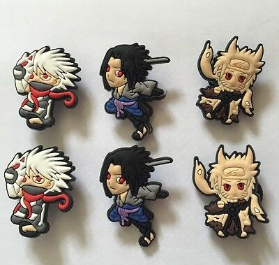 6 X Naruto Pvc Shoe Charms, Wristbands