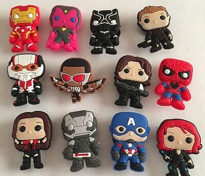 12 X Super Hero Pvc Shoe Charms, Wristbands