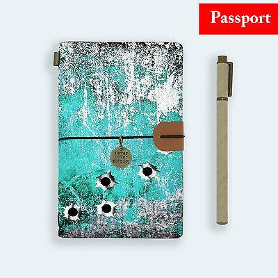 Genuine Leather Journal Travel Diary Travelers Passport Size Bullet Hole