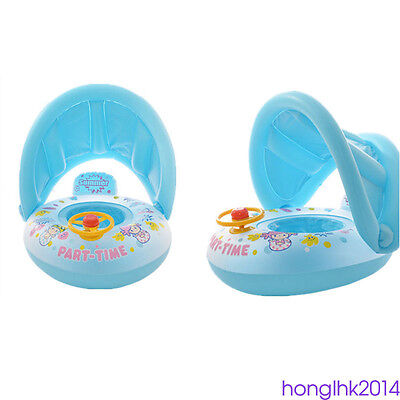 1pc Baby Sunshade Swimming Ring Crab Car Shape Float Inflatable Seat Boat