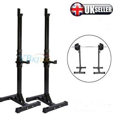 High Quality 2x Adjustable Gym Squat Barbell Power Rack Stand Press Weight Bench