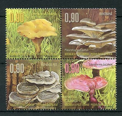 Bosnia & Herzegovina 2016 MNH Mushrooms 4v Block Fungi Stamps