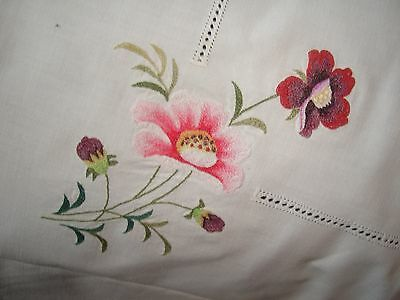 "Vintage White Cotton Embroidered Table Cloth 32"" Square"