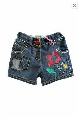 Bnwt Next Denim Embroidered Shorts Size 3-4 Years