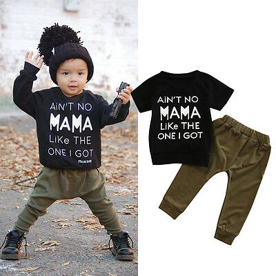 2PCS Newborn Kids Baby Boy Casual T-shirt Tops+Long Pants Outfits Set Tracksuit