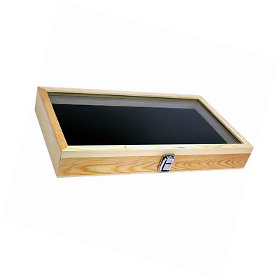 Natural Wood Glass Top Lid Black Pad Display Box Case Medal Awards Jewelry
