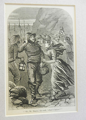 Victorian Wood Engraving c1866 - Mounted - Return of the Shipwrecked Fishermen