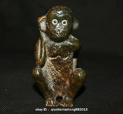 9 Antique China Hongshan Jade Sanxingdui culture Carved Lucky Monkey Sculpture