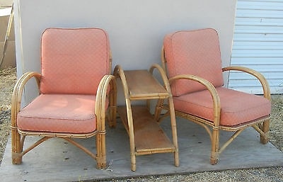 Vintage 1950s Pink Rattan Chair and Table Set