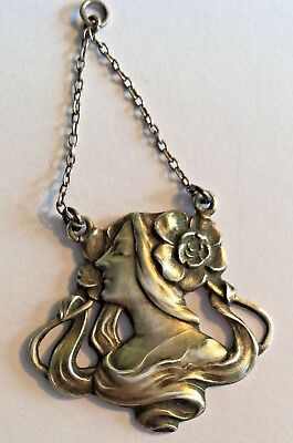Original period silver Art Nouveau pendant w woman's profile