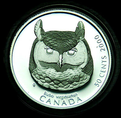 2000 Great Horned Owl - 50¢ silver BU proof from the Birds of Prey series