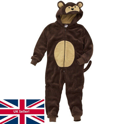 World Book Day Monkey 1Onesie Onezi Boys Child Fleece Hooded Novelty Jumpsuit