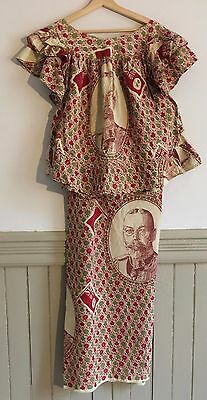 Commerative West African Dress Sewn of George V British Colonial Fabric  C.1930s