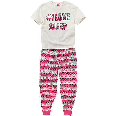 Cozy n Dozy Girls Hashtag # I Love Sleep T-Shirt & Leggings Pyjama Set Fairisle