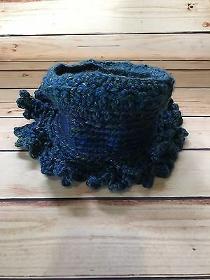 Women's Blue Multi-color Hand Knitted Beanie Cap Hat with Ruffled Edge
