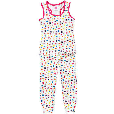 Cozy n Dozy Older Girls All Over Star Print Multi Colour Vest Top Long Pyjamas