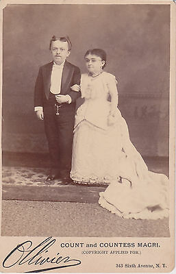 "Count & Countess Magri 1885 Rare Ollivier Cabinet Card ""Copyright Applied For"""