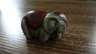 Small Mexico Elephant Carving Signed by Artist! Collectible Figurine Approx 2-3""