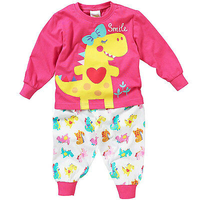 Lullaby Toddler Girls Cute Smile! Dinosaur Long Sleeve Pyjamas 6-23mths Pink