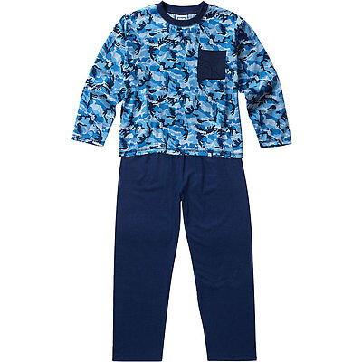 Bedlam Older Boys All Over Army Camouflage Print Cotton Pyjamas Long Sleeve Blue