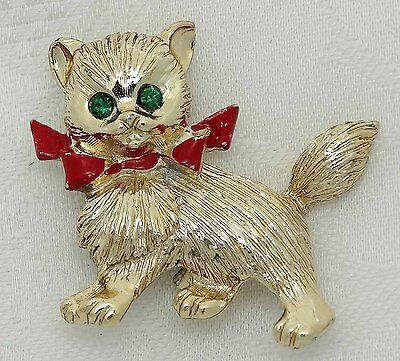 VINTAGE CAT KITTEN Pin ENAMELED GREEN RHINESTONE EYES Figural KITTY