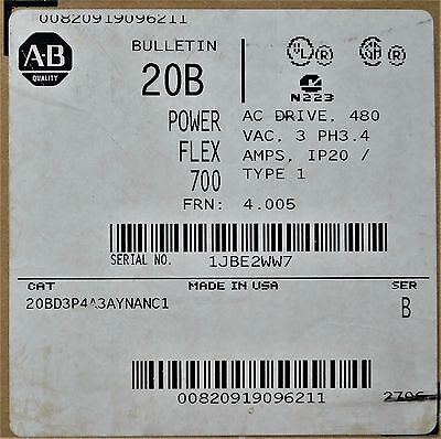 NEW Allen-Bradley PowerFlex 700 2 HP 20BD3P4A3AYNANC1 480 VAC With HMI & Encoder