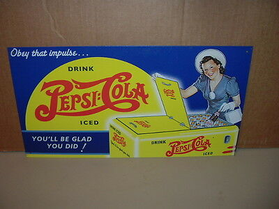 Pepsi-Cola Metal Tin Advertising Sign Drink Iced You'll Be Glad You Did