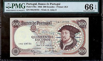 Portugal,  Banco de Portugal,  500 Escudos, 1966,  PMG 66EPQ, Gem Uncirculated