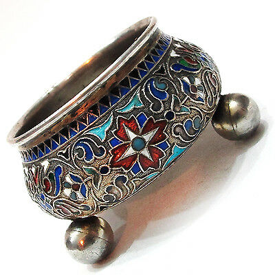 ANTIQUE STERLING SILVER ENAMEL SMALL BOWL BY DAVID ANDERSEN RUSSIAN STYLE ca1890