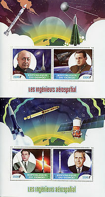 Congo 2016 MNH Space Engineers & Scientists Korolev Yanguel 2x 2v M/S Stamps