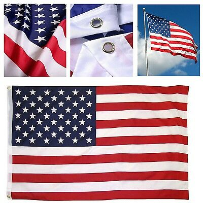US American Flag Heavy Duty 3x5 ft Embroidered Stars Sewn Stripes Grommets Nylon