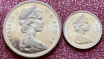 1967 Silver Canadian One Dollar And Quarter Dollar 25c Coins