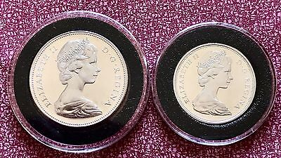 1967 Silver Canadian One Dollar And Half Dollar 50c Coins