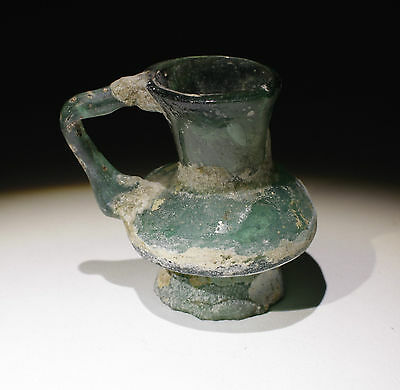Lovely Ancient Roman Glass Bottle Jug Circa 2Nd Century Ad - No Reserve!!