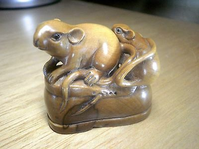 Carved wood netsuke mice or rats on top of boot vintage / antique style figure