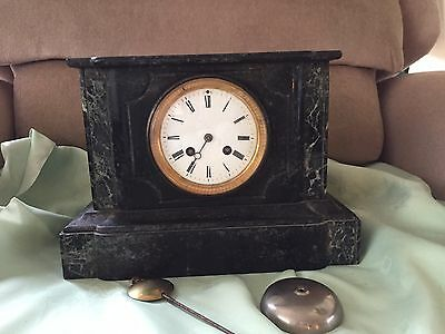 Black marble/slate French movement mantel clock spares or repair