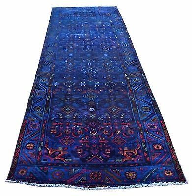 Hand Knotted Vintage Persian Sarouk Overdyed Runner Carpet Rug 10x3 Ft (278AA)