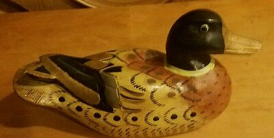 Vintage Wood Carved, Hand Painted Duck